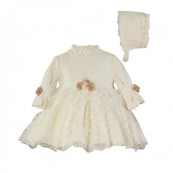 Miranda Vestido con gorro bebé niña Beige 0125/VG