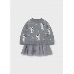 Mayoral Vestido tricot tul bebé niña 2923