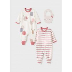 Mayoral Set ECOFRIENDS 2 pijamas con babero recién nacido niña 2670